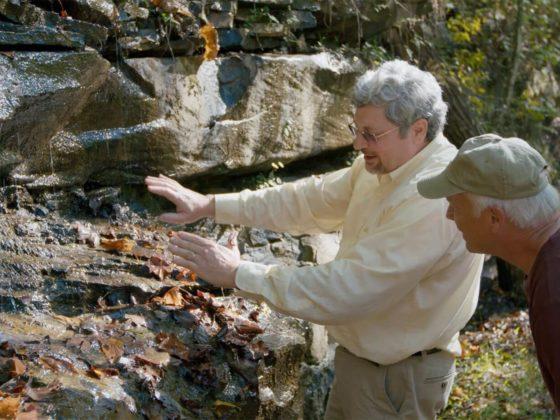 Kurt and Del looking at rock layers