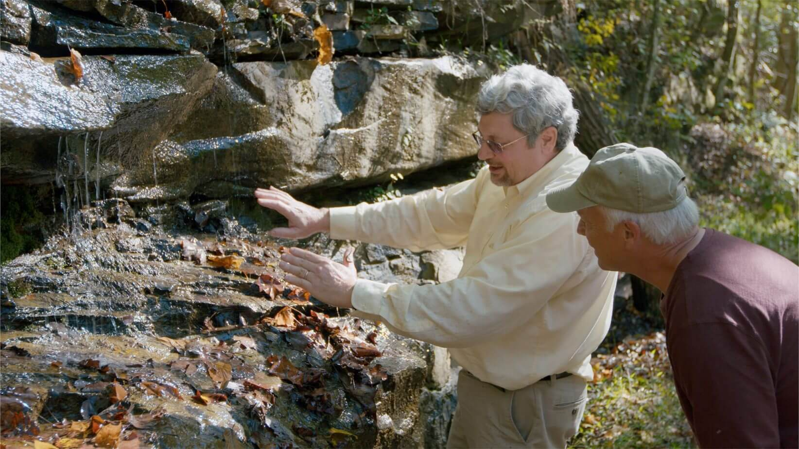 Kurt and Del looking at rock layers