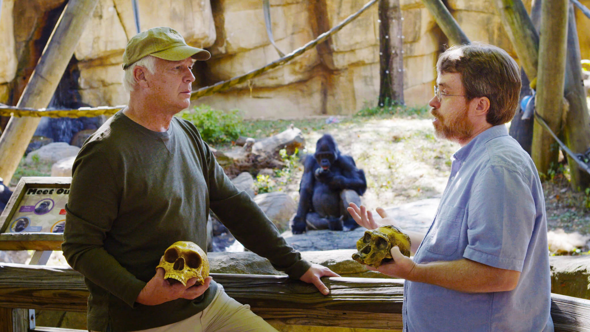 Todd Wood and Del Tackett with skulls and a gorilla